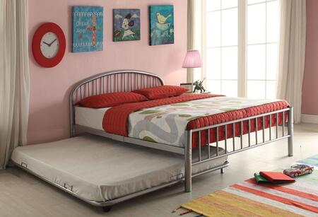 Cailyn Collection 30460T-SITRN Twin Size Trundle Bed with Slat System Included  Curved Headboard  Low Profile Rectangular Footboard and Metal Tube Material in