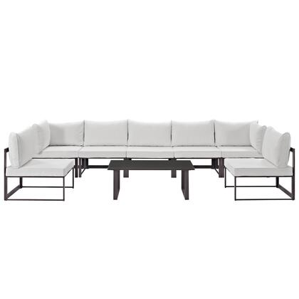 Fortuna Collection EEI-1730-BRN-WHI-SET 8 PC Outdoor Patio Sectional Sofa Set with 2 Corner Chairs  5 Armless Chairs  Tempered Glass Top Coffee Table  Powder