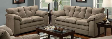 Luna 6565-0302 2 Piece Set including Sofa and Loveseat with Tufted Back and Block Feet in