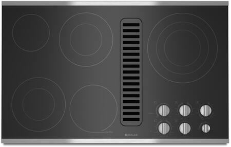 JED3536WS 36 inch  Electric Radiant Downdraft Cooktop with 5 Elements  Ceramic Glass Surface  475 CFM Blower  and Hot Surface Indicator Light  in Stainless