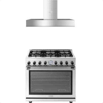 2-Piece Stainless Steel Kitchen Package with RN361GPSS 36 inch  Freestanding Naural Gas Range