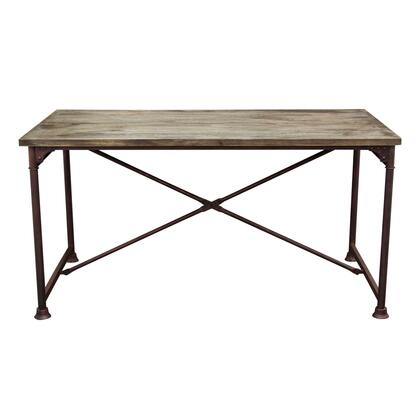 """DIXONDTBL_Dixon_60""""_Vintage_Rectangular_Dining_Table_with_Solid_Pine_Top__Rust_Black_Hand_Painted_Distressed_Base_and_Stretcher__in"""