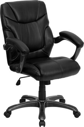 GO-724M-MID-BK-LEA-GG Mid-Back Black Leather Overstuffed Office