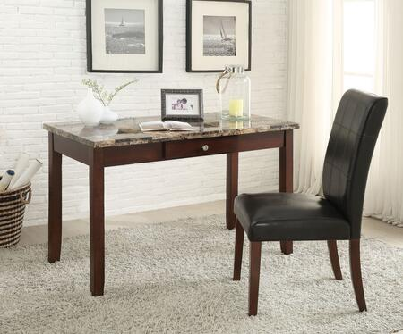 Sydney Collection 92213 2 PC Desk and Chair Set with 1 Drawer  Brown Faux Marble Top  Faux Leather Parson Chair Upholstery and Solid Wood Construction in Dark