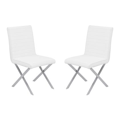 Tempe Collection LCTESIWHBS Contemporary Dining Chair in White Faux Leather with Brushed Stainless Steel Finish - Set of