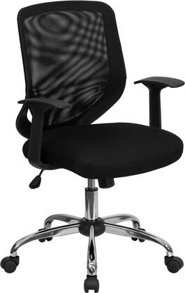 LF-W95-MESH-BK-GG Mid-Back Black Mesh Office Chair with Mesh Fabric