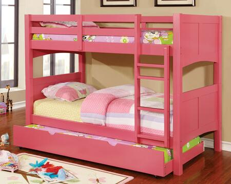 Prismo II Collection CM-BK608T-BTSET-PK 2 PC Bedroom Set with Twin Over Twin Size Bunk Bed + Trundle in Pink