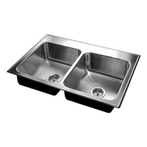 D-1933-A-GR Double Bowl Stylist Topmount Stainless Steel