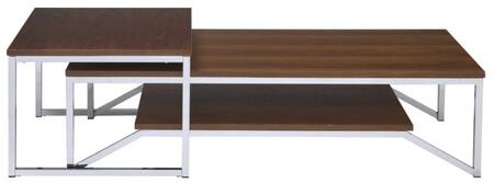 Broadus Collection 84660 2 PC Nesting Table Set with Rectangular Coffee Table  Square End Table  Wooden Top and Geometric Metal Frame in Walnut and Chrome