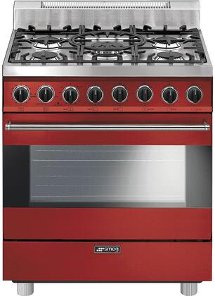 Smeg C30GGRU 30 Free Standing Gas Range with 5 Gas Burners and 3 Cooking Modes, Red