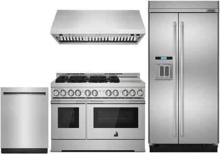 4-Piece Kitchen Package with JS48PPDUDE 48 inch  Built In Side by Side Refrigerator  JGRP548WP 48 inch  Freestanding Gas Range  JXW9048WP 48 inch  Wall Mount Ducted Hood  and