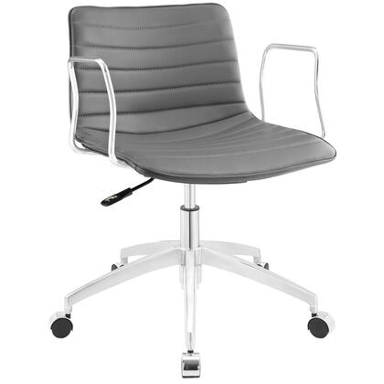 Celerity Collection EEI-1528-GRY Office Chair with 360-Degree Swivel Seat  Five Dual-Wheel Steel Casters  Mid-Century Modern Style  Polished Chrome Aluminum