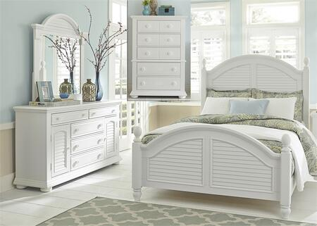 Summer House I Collection 607-BR-KPSDMC 4-Piece Bedroom Set with King Poster Bed  Dresser  Mirror and Chest in Oyster White