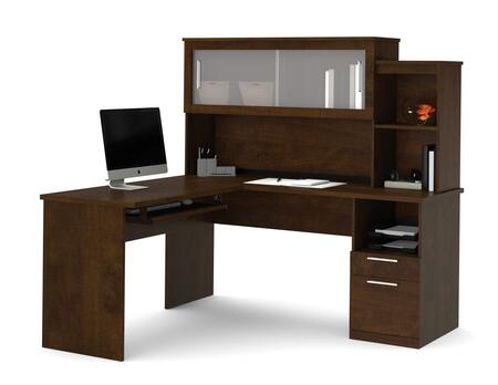 88420-69 Dayton L-Shaped Desk with Scratch and Stain Resistant Surface and Simple Pulls in