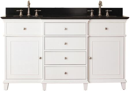 "Windsor Collection WINDSOR-VS60-WT-A 60"" Double Sink Vanity with Black Granite Top  Undermount Sink  2 Soft-Close Doors and 6 Drawers in White"