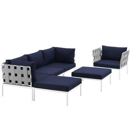 Harmony Collection EEI-2626-WHI-NAV-SET 6-Piece Outdoor Patio Aluminum Sectional Sofa with Armchair  Armless Chair  2 Corner Sofas and 2 Ottomans in
