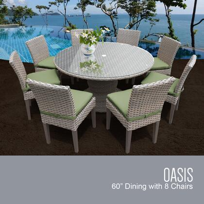 Oasis-60-kit-8c-cilantro Oasis 60 Inch Outdoor Patio Dining Table With 8 Armless Chairs With 2 Covers: Grey And