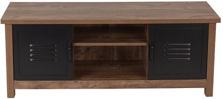 New Lancaster Collection NAN-JN-21736TR-GG 47 inch  Storage Bench with 2 Metal Cabinet Doors  Middle Shelf Storage  Wire Management Holes and Wood Grain Laminate in