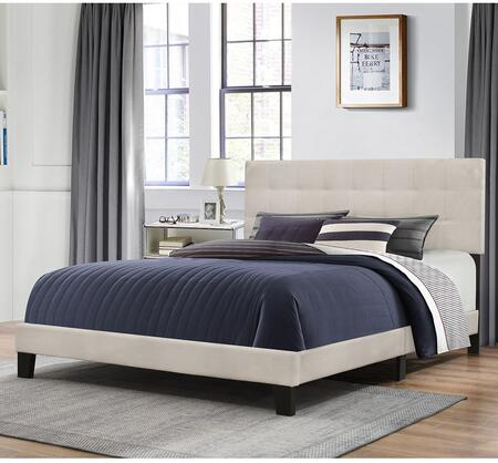Delaney Collection 2009-501 Queen Size Bed with Headboard  Footboard  Rails  Fabric Upholstery and Low Profile Design in