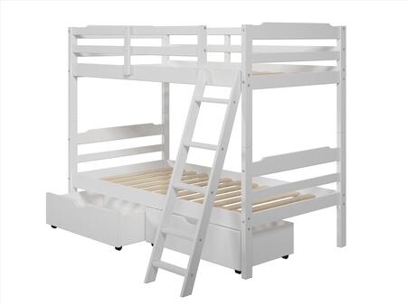"Hayden 4.0 Collection A406 78"" Twin Size Storage Bunk Bed with Solid Pine Wood Construction  Wood Rails and 2 Drawers in"