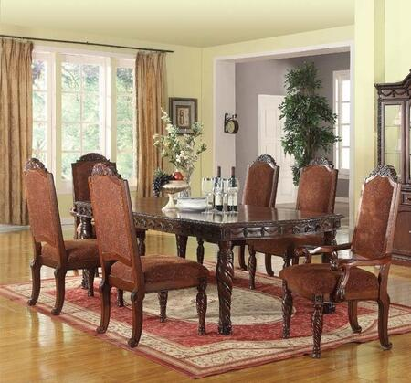 Quimby Collection 602757TC 7 PC Dining Room Set with Dining Table + 4 Side Chairs + 2 Side Chairs in Cherry