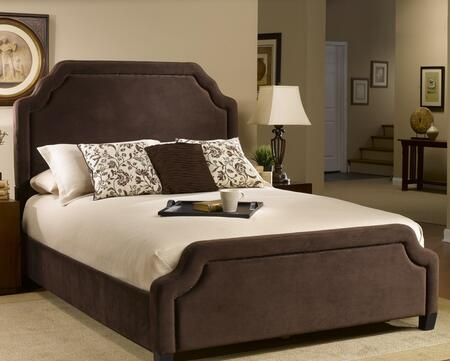 Carlyle 1554BQRC Queen Sized Bed with Headboard  Footboard and Rails  Nail Head Trim and Fabric Upholstery in Chocolate