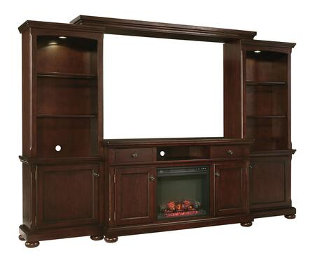 Porter Collection W697132ENTF01 114 inch  5-Piece Entertainment Center with W100-01 Fireplace Insert  TV Stand  Left Pier  Right Pier and Bridge in Rustic