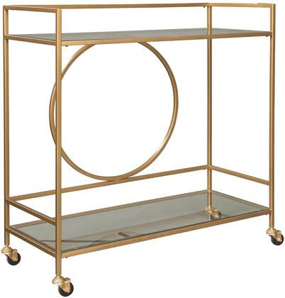 """Jackford_Collection_A4000165_36.63""""_Bar_Cart_with_Rectangular_Shape__Casters__Clear_Glass_Tabletop_and_Shelf__Metal_Frame_in_Antique_Gold"""