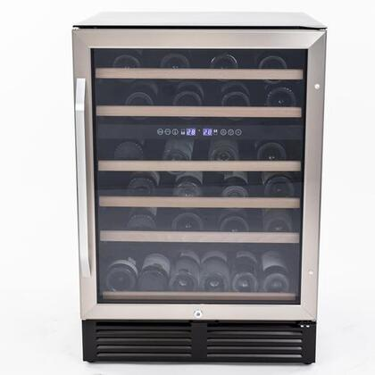 WCR496DS Dual Zone Wine Chiller with 49 Bottle Capacity  Glass Door  Interior Soft Touch Digital Controls  and Display Security Lock  in Stainless