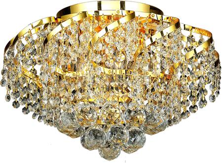 VECA1F16G/EC Belenus Collection Flush Mount D:16In H:10In Lt:6 Gold Finish (Elegant Cut