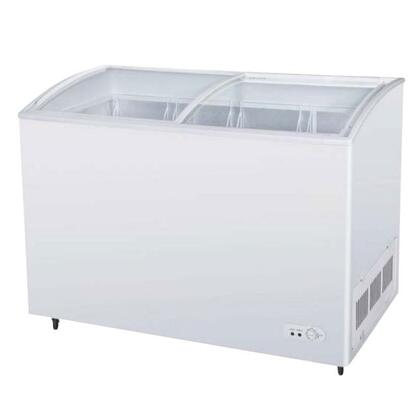"""TSD60CF 51"""" Chest Ice Cream Freezer with High Density PU Insulation  Anti-Rust Coating  Environmental Friendly Refrigeration System  Attractive Curved Glass"""