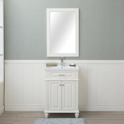 HE-104OL-24-W-CTSF Lancaster 24 in. Single Bathroom Vanity in White with Porcelain Top (Single