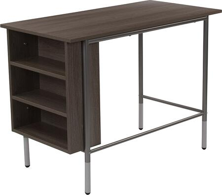 Hillside Collection NAN-JN-21725-GG 39 inch  Desk with Side Storage Shelves  White Leg Caps  Floor Glides  Silver Powder Coated Frame and Laminate Materials in