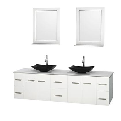 WCVW00980DWHWSGS4M24 80 in. Double Bathroom Vanity in White  White Man-Made Stone Countertop  Arista Black Granite Sinks  and 24 in.