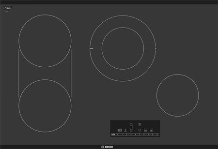 Bosch NET8068UC 800 Series 30 Touch Control Electric Cooktop, Black Frameless with 17 Different Cooking Level Settings 4 Elements and Heat Indicator Light