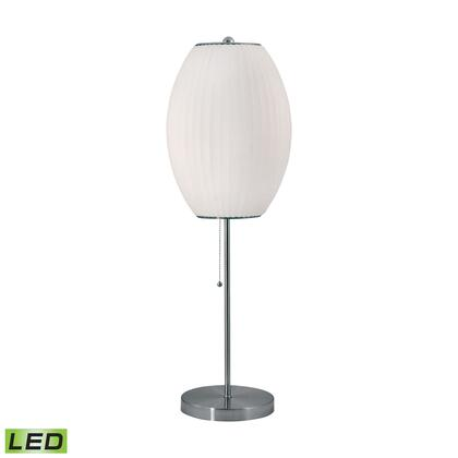 400-LED Cigar LED Table Lamp in Satin Nickel And White Satin Nickel