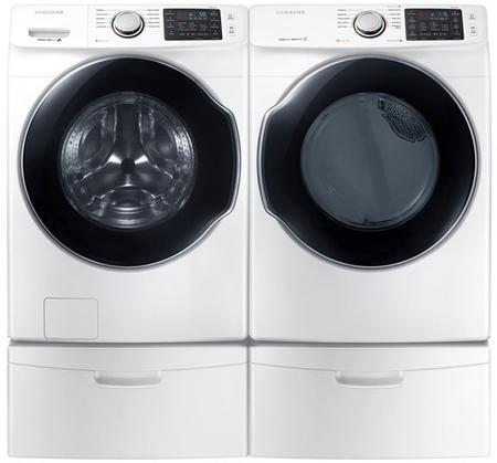 "White Front Load Laundry Pair with WF45M5500AW 27"""" Washer  DVG45M5500W 27"""" Gas Dryer and 2 WE357A0W"" 770291"