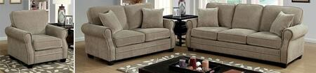Lynne Collection CM6818-SLC 3-Piece Living Room Set with Stationary Sofa  Loveseat and Chair in