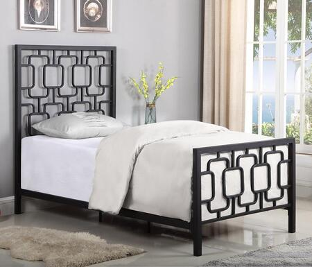 Annabella Collection 300768T Twin Size Bed with Open-Frame Panel Design and Steel Metal Construction in
