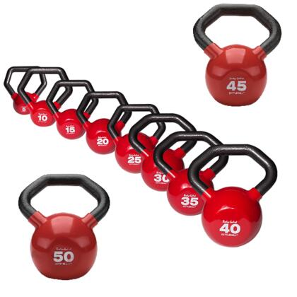 KBLS275 Cast Iron Kettleball with Angled Handle and Vinyl Coating Set (Includes 5 lbs.  10 lbs.  15 lbs.  20 lbs.  25 lbs.  30 lbs.  35 lbs.  40 lbs.  45 lbs.