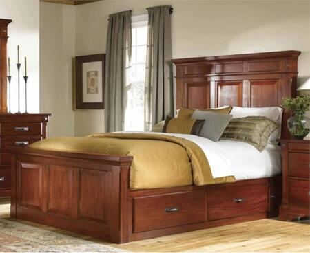 KALRM5131 Kalispell Mantel Bed with Storage Constructed in Solid Plantation Mahogany with Bolt on Bed Rails and Metal Ball Bearing Glides in Rustic Mahogany