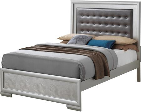 Vella Collection G5600A-FB Full Size Bed with Tufted Headboard  Crocodile Texture and Wood Veneers in Silver