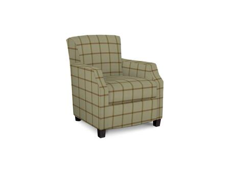 Comiskey Connection 1149-02/BE09-5 28 inch  Accent Chair with Fabric Upholstery  Tapered Wood Legs  Tight Back and Contemporary Style in Woven Plaid