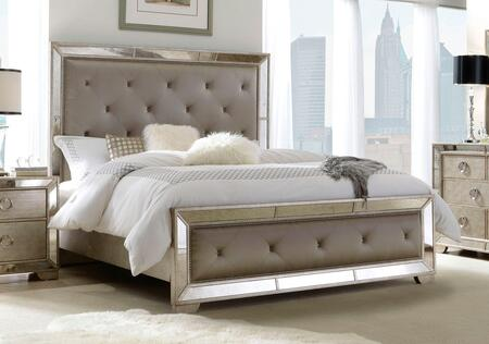 Farrah 39518012 King Bed with Antique Mirrored Border  Rhinestone Button Tufted Panel and Side Rails in