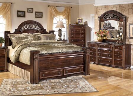 Gabriela King Bedroom Set With Poster Storage Bed  Dresser  Mirror And Chest In Dark Reddish