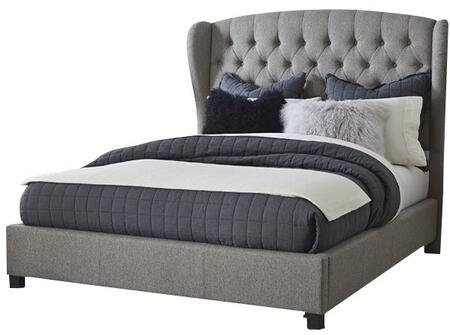 Bromley 1943QBR Queen Sized Bed with Headboard  Footboard and Rails  Rounded Wingback Styling  Pillowed Tufting and Fabric-Covered Side Rails in Orly