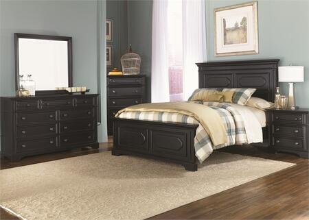 Carrington II Collection 917-BR-KPBDMCN 5-Piece Bedroom Set with King Panel Bed  Dresser  Mirror  Chest and Night Stand in Black