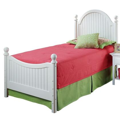 1354BTW Westfield Twin Size Poster Bed Set with Sculpted Feet  Curved Headboard  No Rails and Wood Construction in Off White