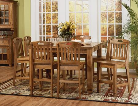 Sedona Collection 1245RODT8BS 9-Piece Dining Room Set with Family Table and 8 Barstools in Rustic Oak