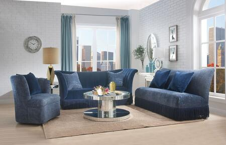 Kaffir Collection 53270SET 7 PC Living Room Set with Sofa  Loveseat  Chair  Coffee Table  End Table  Console Table and Mirror in Mirrored and Dark Blue